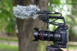 The C100 ready for run-and-gun filming