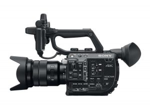 The Sony PXW-FS5 with the kit lens option, the 18-105mm F4.