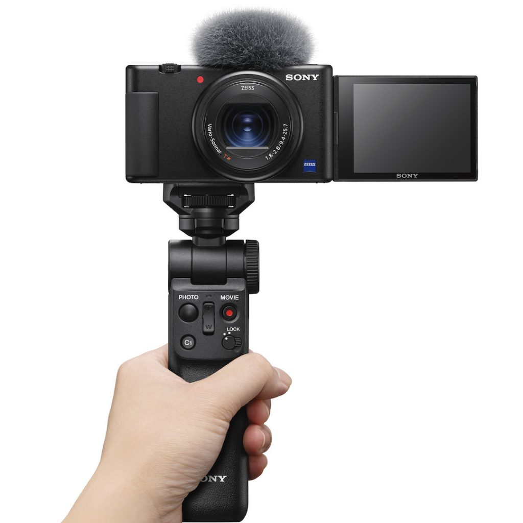Sony ZV-1 video blogging camera in hand